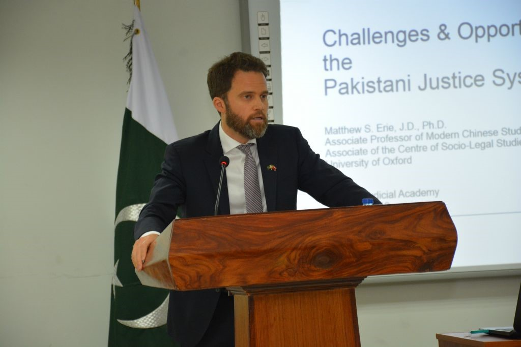Matthew Erie delivers lecture to the Honorable Justices of the Supreme Court of Pakistan and the Islamabad High Court